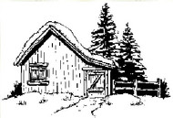 Snow Cabin Rubber Stamp - 13S05