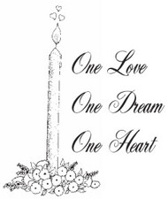 One Love One Dream One Heart Rubber Stamp - 153W05