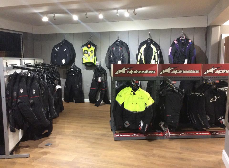 Motorcycle clothing at Bolt Bikes shop, Bexhill