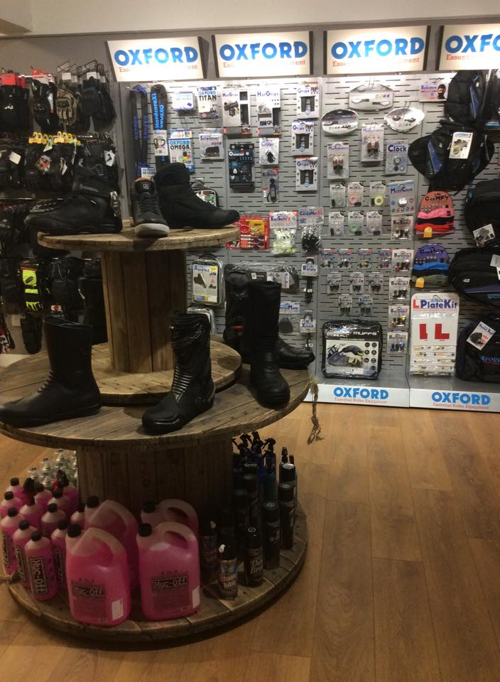 Motorcycle boots and accessories at Bolt Bikes shop, Bexhill