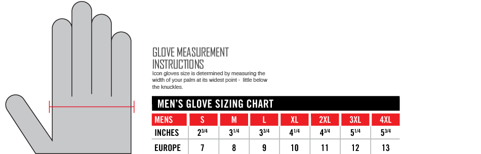 Icon Glove Sizing Chart