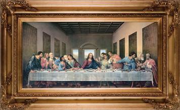 "Last Supper by Da Vinci Restored 16""x32"" Museum Framed Art"