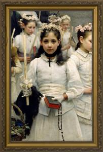 After the First Holy Communion (Detail 1 Girl) - Standard Gold Framed Art