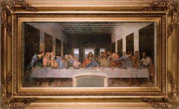 "Last Supper by Da Vinci 16""x32"" Canvas - Gold Museum Framed Art"