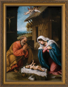 Nativity with Reaching Jesus - Standard Gold Framed Art