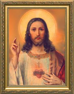 Antique Sacred Heart - Standard Gold Framed Art