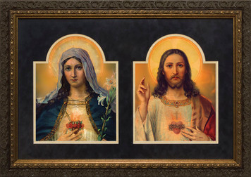 Antique Sacred & Immaculate Hearts Framed Art