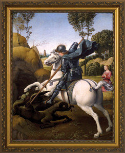 St. George (Dark Armor) and the Dragon Framed Art
