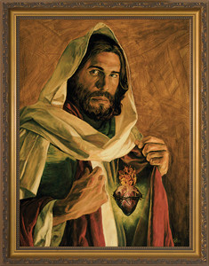 Sacred Heart of Jesus by Jason Jenicke - Standard Gold Framed Art
