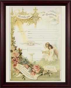 Certificate of Baptism Cherry Framed