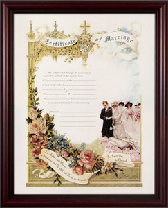Certificate of Marriage Cherry Framed