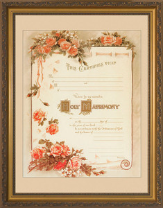 Certificate of Matrimony Gold Framed