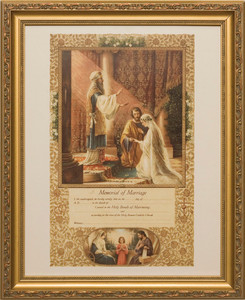 Wedding of Joseph & Mary Memorial Certificate of Marriage (From Original Lithograph) Gold Framed