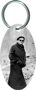 Pope on a Mission (JPII) Oval Keychain