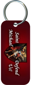 St. Michael the Archangel Red Rectangle Keychain