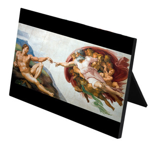 Creation of Adam by Michaelangelo Horizontal Desk Plaque