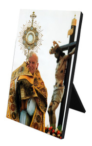 St. John Paul II with Monstrance Vertical Desk Plaque