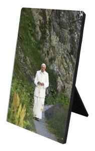 Pope Benedict in Mountains Vertical Desk Plaque
