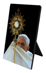 Pope Benedict with Monstrance Vertical Desk Plaque