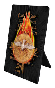 Holy Spirit with Fire Vertical Desk Plaque