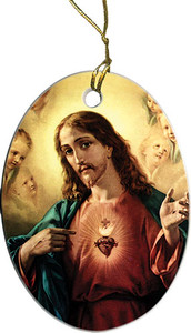 Sacred Heart Surrounded by Angels Ornament