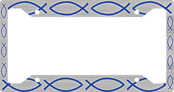 Ichthus Fish Blue Plate Frame