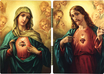 Sacred & Immaculate Hearts Surrounded by Angels Diptych