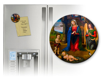 Nativity with Kneeling Angel Round Magnet