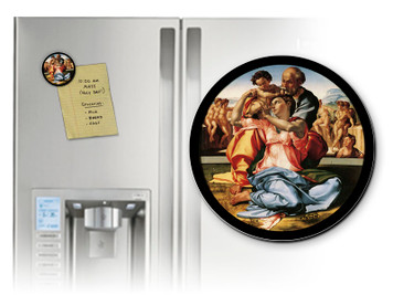 Holy Family by Michelangelo Round Magnet