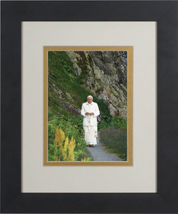 Pope Benedict In Mountains Matted - Black Framed Art
