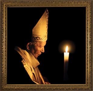 Pope John Paul II with Paschal Candle Framed Art