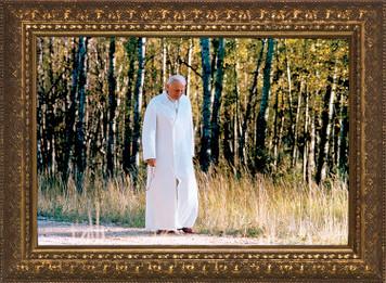 Pope John Paul II Walking Rosary Framed Art