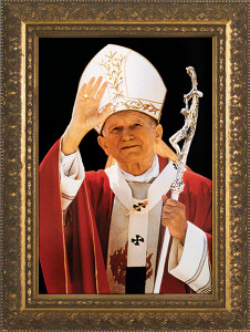 St. John Paul II Waving Framed Art