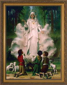 Our Lady of Fatima in Cloud Framed Art