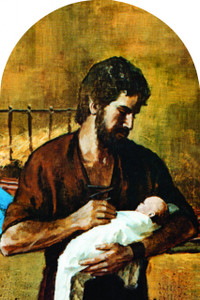 St. Joseph (Young With Jesus) Arched Magnet