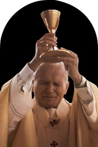 St. John Paul II Raising Chalice Arched Magnet