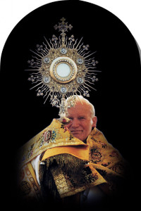 Saint John Paul the Great with Monstrance Arched Magnet