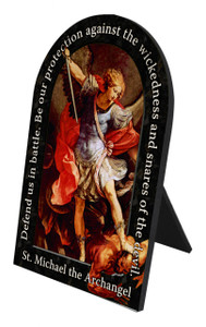 St. Michael the Archangel Prayer Arched Desk Plaque