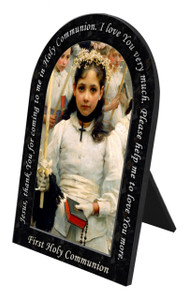After the First Holy Communion (Detail 1 Girl) Prayer Arched Desk Plaque