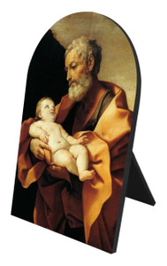 St. Joseph (Old With Jesus) Arched Desk Plaque