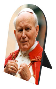 St. John Paul II Addressing the Faithful Arched Desk Plaque