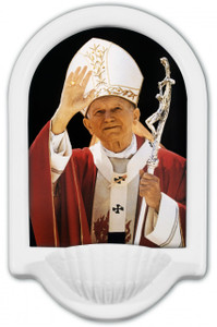 St. John Paul II Waving Holy Water Font
