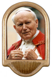 St. John Paul II Addressing the Faithful Holy Water Font