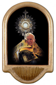 Saint John Paul the Great with Monstrance Holy Water Font