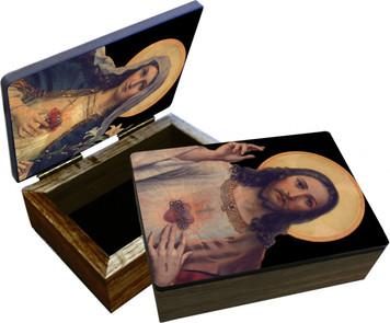 Antique Sacred & Immaculate Hearts Keepsake Box