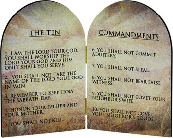 Ten Commandments (Catholic) Arched Diptych
