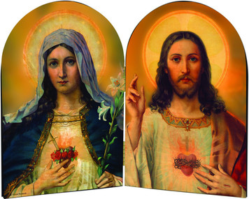 Sacred & Immaculate Hearts Arched Diptych