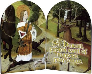 St. Hubert Hunter's Prayer Arched Diptych