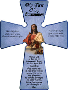 First Communion (Blue) Wall Cross