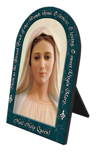 Our Lady of Medjugorje Hail Holy Queen Arched Desk Plaque